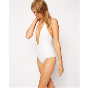 WHITE LACE V PLUNGE HALTER ONE PIECE SWIM SUIT
